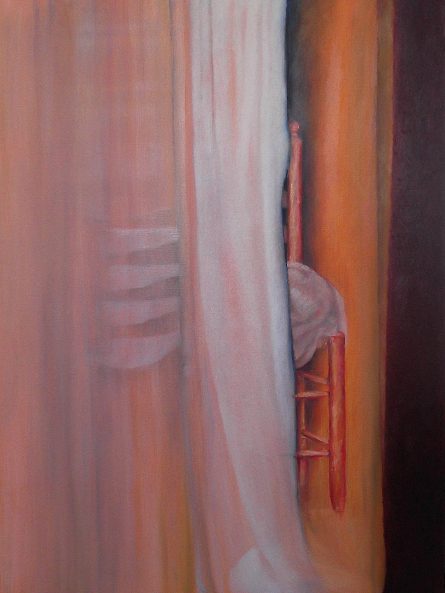 hangende deken met stoel schilderij van Randi Vettewinkel